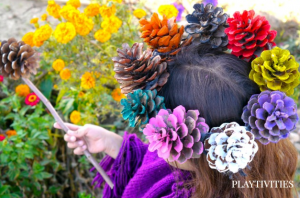 pinecone crown and wand