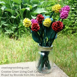 outdoor-kids-craft-how-to-make-pinecone-roses-creative-green-living-craft-camp-2013-project-by-rhonda-from-mrs-greene-complete